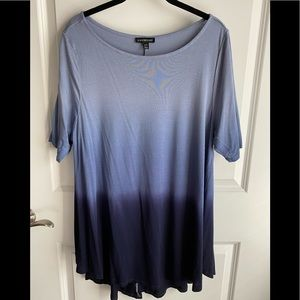 Lane Bryant Blue Shades Short Sleeve Shirt 14/16